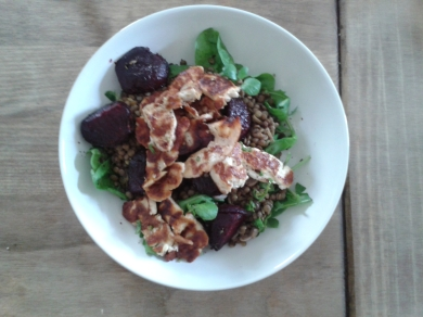 Puy lentil, beetroot and halloumi