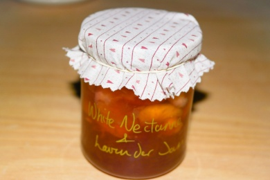 White nectarine and lavender jam