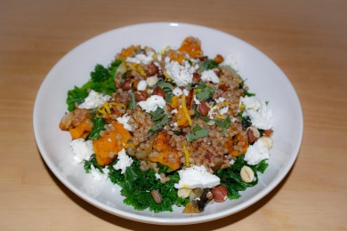 Roasted butternut squash, hazelnut and goats cheese salad