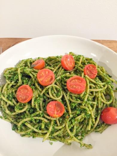 Kale and almond pesto pasta